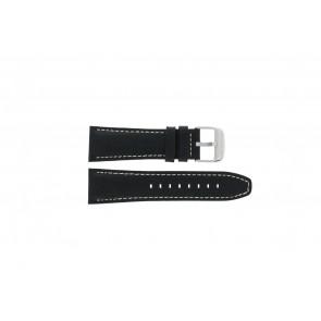 Lotus bracelet de montre 15536 Cuir Noir 26mm + coutures blanches