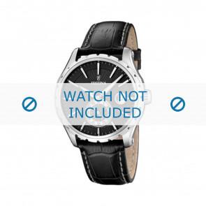 Festina bracelet de montre F16486/1 Cuir Noir 23mm + coutures blanches