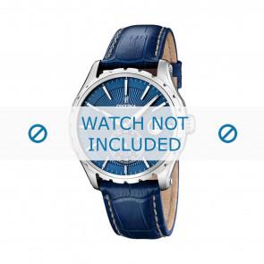 Festina bracelet de montre F16486/6 Cuir Bleu 23mm + coutures blanches