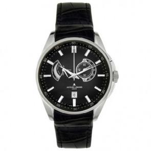 Jacques Lemans bracelet de montre G175 Cuir Noir 22mm + coutures noires