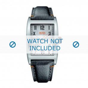 Hugo Boss bracelet de montre HB-33-1-14-2081 / HO1512307 Cuir Noir + coutures oranges