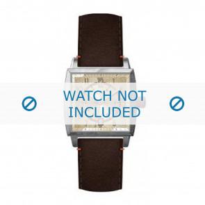 Hugo Boss bracelet de montre HB-34-1-14-2049 / HO1512141 Cuir Brun + coutures brunes