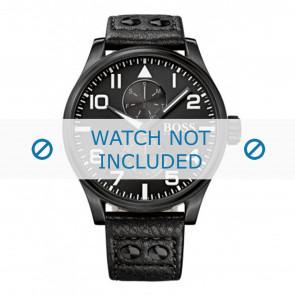 Hugo Boss bracelet de montre HB-88-1-34-2733 / HB1513083 Cuir Noir 24mm + coutures noires