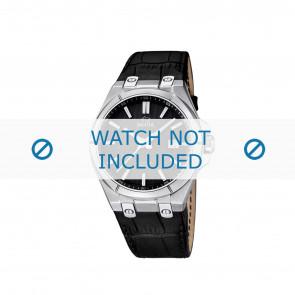 Jaguar bracelet de montre J670.3 / J670.6 Cuir croco Noir + coutures noires