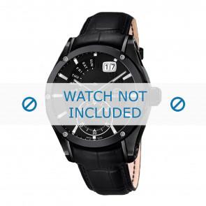 Jaguar bracelet de montre J681-A / J681-B Cuir Noir + coutures noires