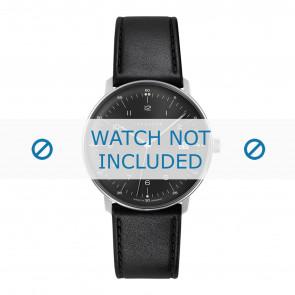 Junghans bracelet de montre 041/4462.00 Cuir Noir 20mm + coutures défaut