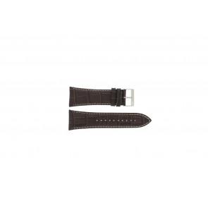 Lorus bracelet de montre VD57-X023 Cuir Brun 28mm + coutures blanches