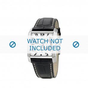 Lotus bracelet de montre 15411/2 / 15411/4 / 15411/A Cuir Noir + coutures blanches