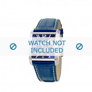 Lotus bracelet de montre 15411.3 Cuir Bleu + coutures blanches