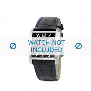 Lotus bracelet de montre 15411.6 Cuir Noir + coutures  bleues
