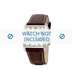 Lotus bracelet de montre 15411.8 Cuir Brun + coutures blanches