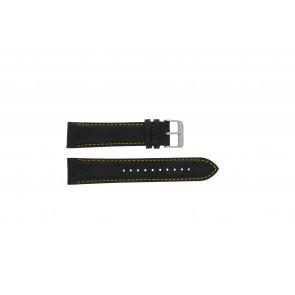 Pulsar bracelet de montre VK63-X001 / PP077X Cuir Noir 22mm + coutures jaunes