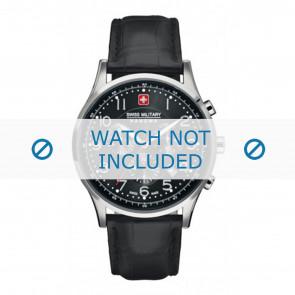 Swiss Military Hanowa bracelet de montre 06-4187.04.007 Cuir Noir 22mm + coutures noires