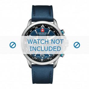 Swiss Military Hanowa bracelet de montre 06-4224.04.003 Cuir Bleu 22mm + coutures  bleues