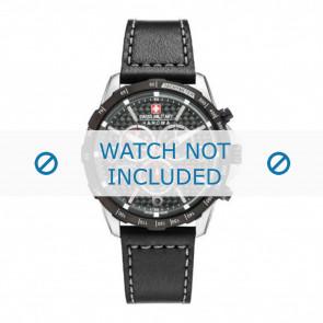 Swiss Military Hanowa bracelet de montre 06-4251.33.001 Cuir Noir 24mm + coutures grises
