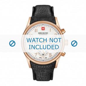 Swiss Military Hanowa bracelet de montre 06-4278.09.001 Cuir Noir + coutures noires