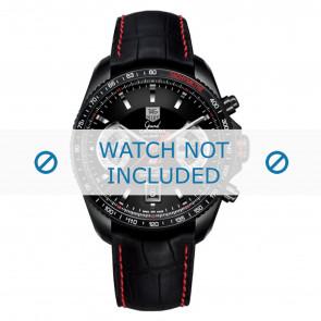 Tag Heuer bracelet de montre FC6237 Cuir Noir + coutures  rouges