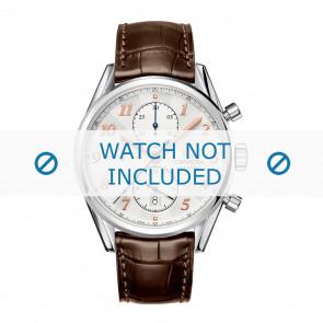 Tag Heuer bracelet de montre CAR2150.FC6291 / CAR2110 / CAR2110 / WAR5011 / CAS2111 / CAS2111 / CAS2150 / CV2013 / WAR201B / WAR201C / WAR201D / WAR5012 Cuir Brun 20mm + coutures brunes