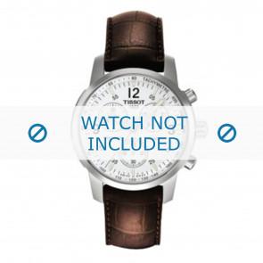Tissot bracelet de montre T361.461 PRC-200 - T600013367 Cuir croco Brun 19mm + coutures brunes