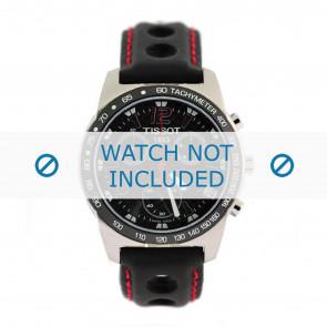 Tissot bracelet de montre J378-478 PR-50 - T600020323 Cuir Noir 19mm + coutures  rouges