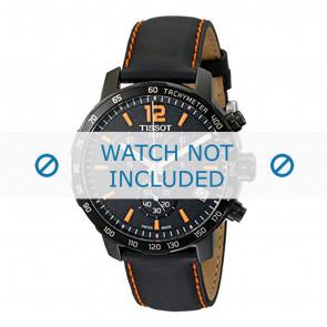 Tissot bracelet de montre T095.417.360.570.0 - T600035367 / T095.417.A Cuir Noir 19mm + coutures oranges