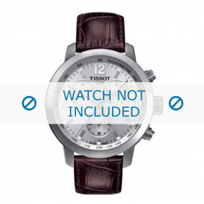 Tissot bracelet de montre T055.417.A PRC 200 - T610032785 / T055.417.16.037.00 / T055.430.16 / T055.410.16.017.01A Cuir croco Brun 19mm